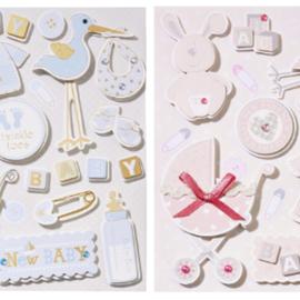 Embellishments / Verzierungen schattige 3D-stickers, met 12 motieven, baby in selectie voor meisjes of jongens
