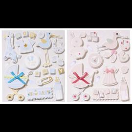 Embellishments / Verzierungen søte 3D-klistremerker, med 12 motiv, baby i utvalg for jenter eller gutter