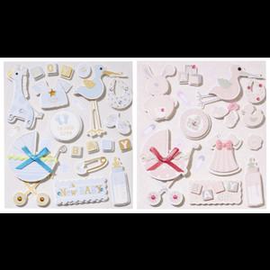 Embellishments / Verzierungen Adorables autocollants 3D, avec 12 motifs, bébé dans la sélection pour filles ou garçons