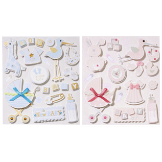 Embellishments / Verzierungen cute 3D stickers, with 12 motifs, baby in selection for girls or boys