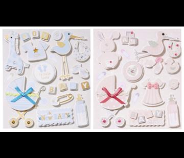 Embellishments / Verzierungen niedliche 3D Sticker, mit 12 Motive,  Baby in Auswahl für Mädchen oder Jungen