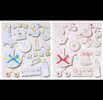Embellishments / Verzierungen søde 3D-klistermærker, med 12 motiver, baby i valg til piger eller drenge