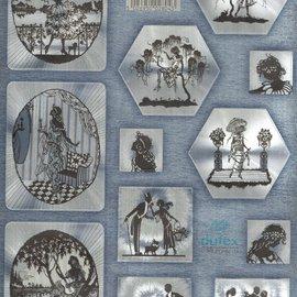 Die cut, DUFEX with silver metallic effect, 12 romantic motifs.
