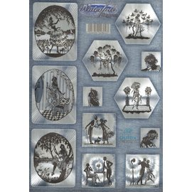 Gestanst, DUFEX met zilver metallic effect, 12 romantische motieven.