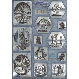 Troquelado, DUFEX con efecto metálico plateado, 12 motivos románticos.
