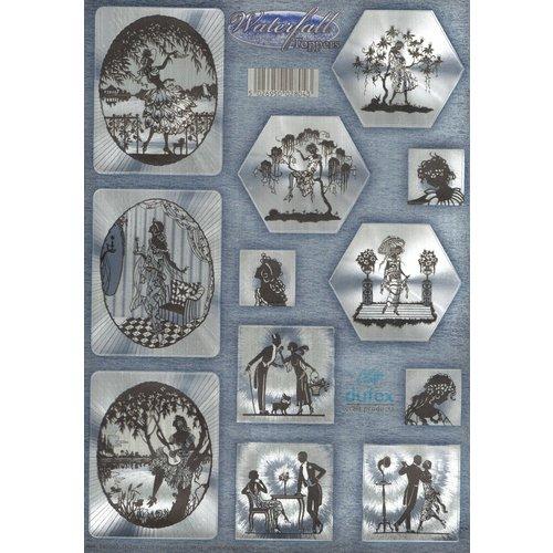 Die cut, DUFEX med sølv metallisk effekt, 12 romantiske motiver.
