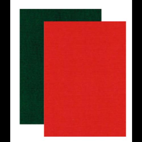 Karten und Scrapbooking Papier, Papier blöcke Leinen Karton, A4, 240 gr,   5x Weihnachtsrot und 5x weihnachtsgrün