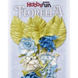 Embellishments / Verzierungen Blüten und  Blätter, 6 Stück, Blüten ca. 3 cm
