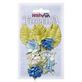 Embellishments / Verzierungen Fleurs et feuilles, 6 pièces, fleurs d'environ 3 cm