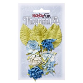 Stamperia und Florella Flores y hojas, 6 piezas, flores de unos 3 cm.