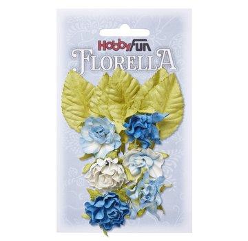 Embellishments / Verzierungen Flowers and leaves, 6 pieces, flowers about 3 cm