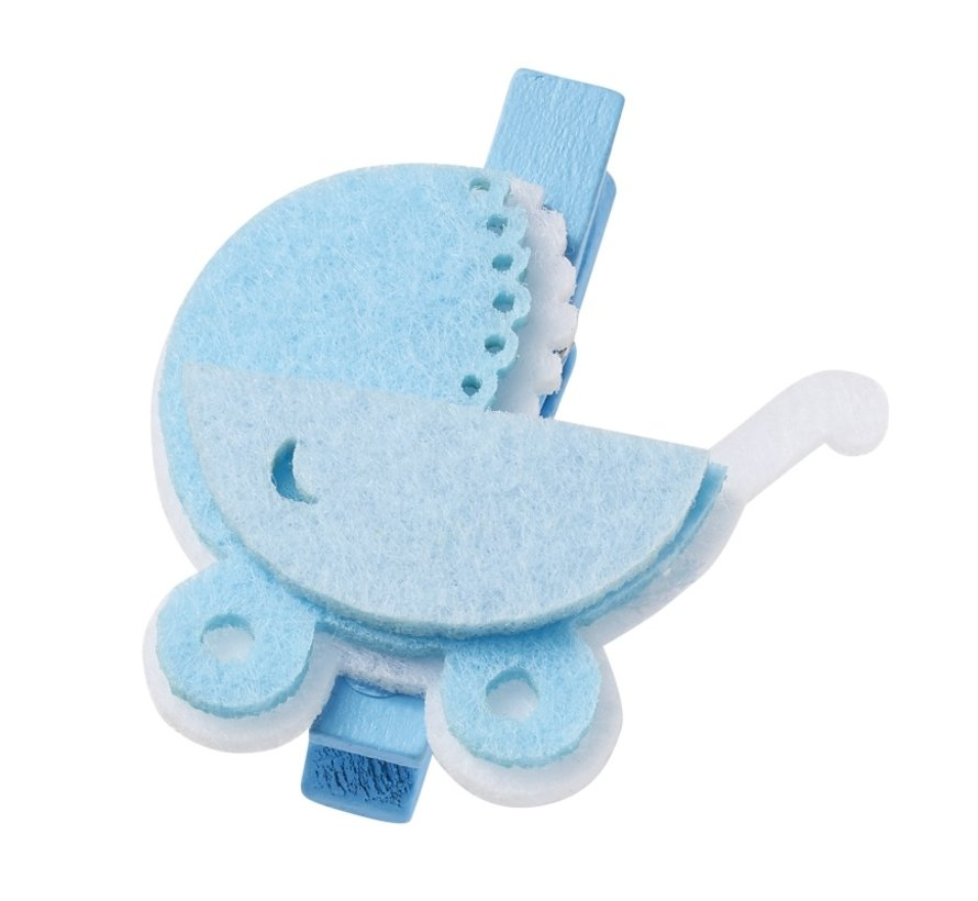 Baby cart, about 4 cm with clip, blue, 3 pieces! Baby in selection for girls or boys
