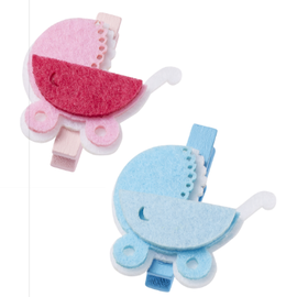 Embellishments / Verzierungen Baby cart, about 4 cm with clip, blue, 3 pieces! Baby in selection for girls or boys