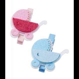 Embellishments / Verzierungen Baby-Wagen, ca. 4 cm mit Clip, blau,  3 Stück!  Baby in Auswahl für Mädchen oder Jungen