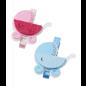 Embellishments / Verzierungen Babywagen, ongeveer 4 cm met clip, blauw, 3 stuks! Baby in selectie voor meisjes of jongens
