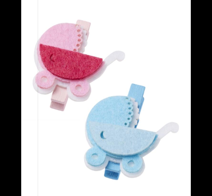 Babywagen, ongeveer 4 cm met clip, blauw, 3 stuks! Baby in selectie voor meisjes of jongens