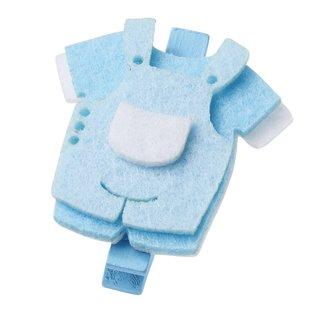 Embellishments / Verzierungen Babybroekje, ongeveer 4 cm met clip, blauw, 3 stuks.