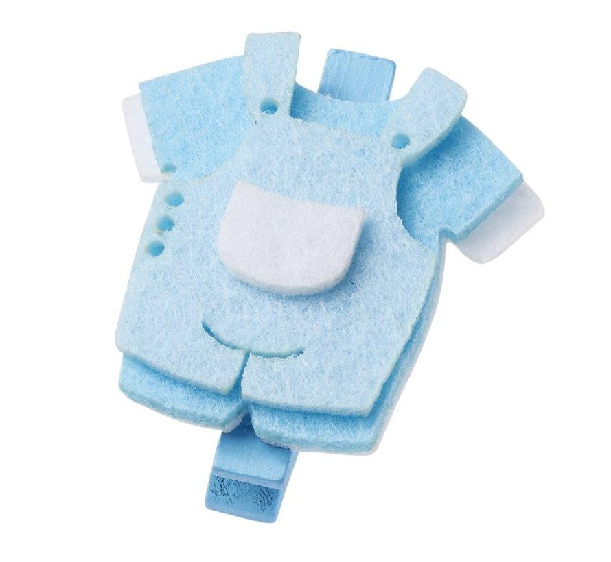 Pantalon bébé, environ 4 cm avec clip, bleu, 3 pièces.