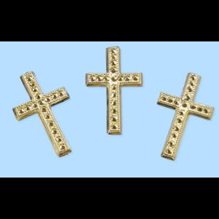 Embellishments / Verzierungen Kreuz, ca. 3 cm, 3 Stück. Auswahl in silber oder gold farbe. Zur Gestaltung auf Karten