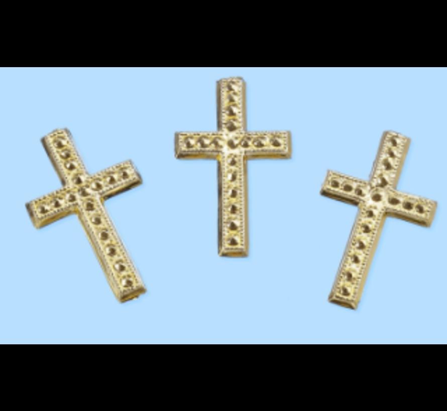 Croix, environ 3 cm, 3 pièces. Choix en couleur argent ou or. Concevoir sur des cartes