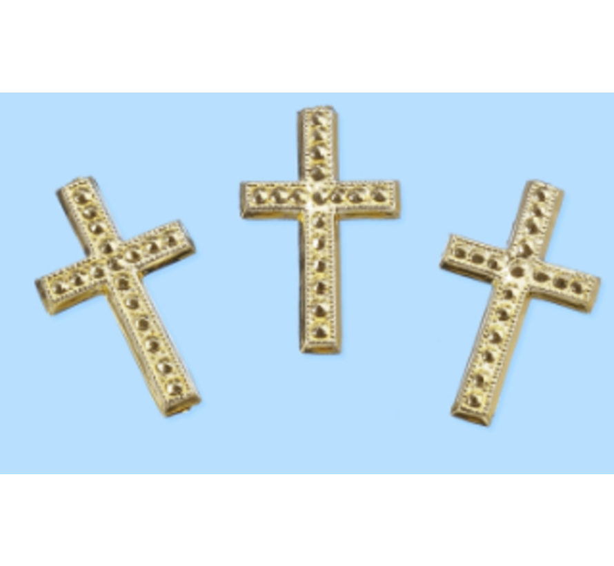 Cross, about 3 cm, 3 pieces. Choice in silver or gold color. To design on cards