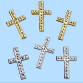 Embellishments / Verzierungen Croce, circa 3 cm, 3 pezzi. Scelta in colore argento o oro. Progettare su carte