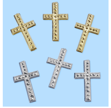 Embellishments / Verzierungen Cross, about 3 cm, 3 pieces. Choice in silver or gold color. To design on cards