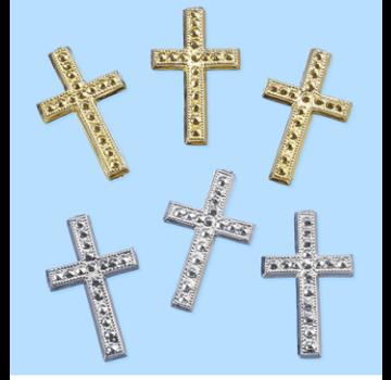 Embellishments / Verzierungen Kors, ca. 3 cm, 3 stk. Valg i sølv eller guldfarve. At designe på kort
