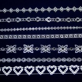 Embellishments / Verzierungen 7 forskellige dekorative grænser med glitrende sten, til design på kort, scrapbog, album og meget mere!
