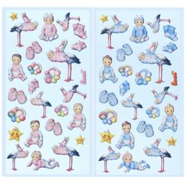 Embellishments / Verzierungen SOFTY-Sticker, selectie uit Babygirl of Babyboy