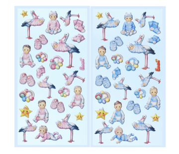 Embellishments / Verzierungen SOFTY-Sticker, Selection from Babygirl or Babyboy