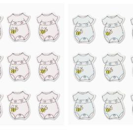 Embellishments / Verzierungen Sticker Romper, en sélection rose ou bleu