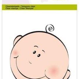 Crealies und CraftEmotions Estampilla, transparente, A6 - cara de bebé