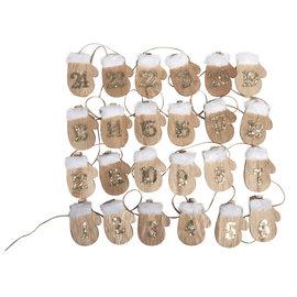 Embellishments / Verzierungen PREPARACIÓN DE ARTESANÍA para Navidad: 24 guantes de madera con calendario de adviento en el clip