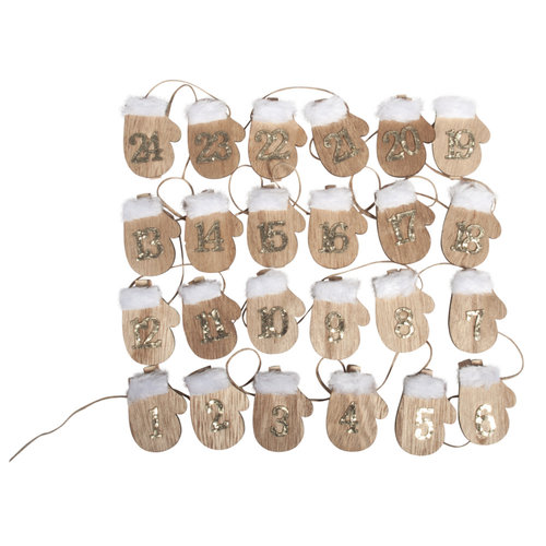 Embellishments / Verzierungen PREPARATION CRAFTS for Christmas: 24 wooden advent calendar glove on clip