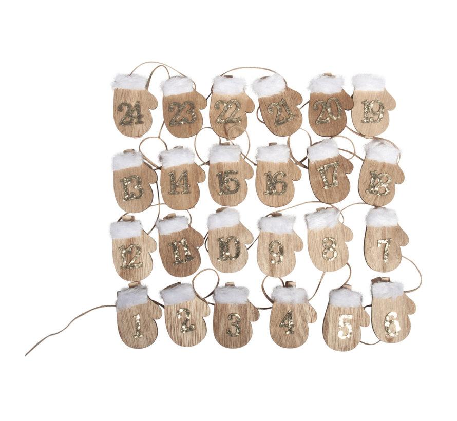 VORBEREITUNG BASTELN für Weihnachten: 24 Holz Adventskalender-Handschuh auf Klammer