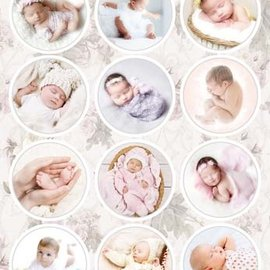 A4, gestanst vel, voorgesneden foto's: baby's