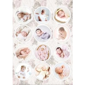A4, stanset ark, pre-cut bilder: babyer