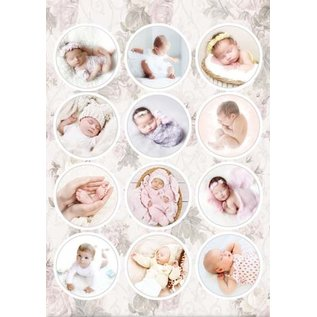 A4, punched sheet, pre-cut pictures: babies