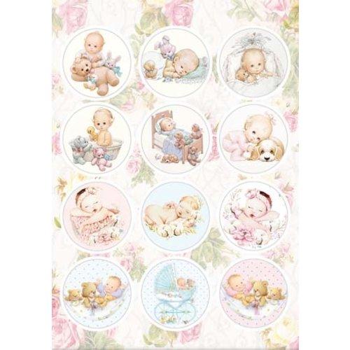 A4 Stanzbogen, 12 vorgestanzter Bilder: Babys