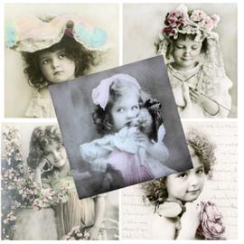 DECOUPAGE AND ACCESSOIRES 5 Designer Servietten im Vintage Design, Mädchen