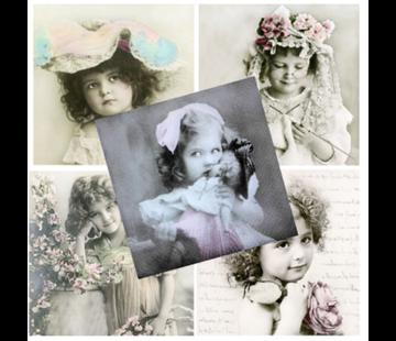 DECOUPAGE AND ACCESSOIRES 5 designer napkins in vintage design, girl
