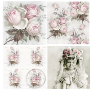 DECOUPAGE AND ACCESSOIRES 4 Designer Decoupage Servietter i Vintage Design Roses -PIECE TILGÆNGELIG!