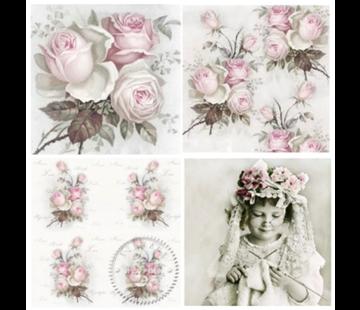 DECOUPAGE AND ACCESSOIRES 4 Designer Decoupage servetten in vintage design rozen - STUK BESCHIKBAAR!