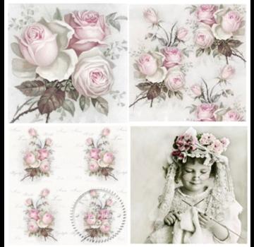 DECOUPAGE AND ACCESSOIRES 4 Tovaglioli Decoupage firmati in rose di design vintage -PIECE DISPONIBILE!