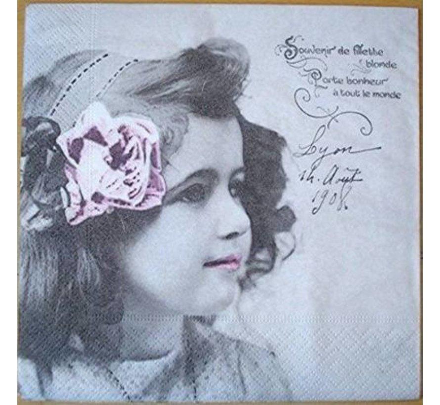 5 serviettes design vintage, fille