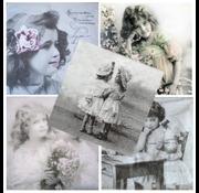 DECOUPAGE AND ACCESSOIRES 5 designer servietter i vintage design, pige