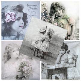 DECOUPAGE AND ACCESSOIRES 5 servilletas de diseño en diseño vintage, niña