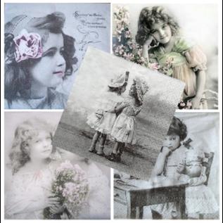 DECOUPAGE AND ACCESSOIRES 5 serviettes design vintage, fille