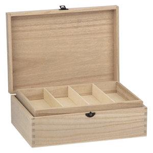 Holz, MDF, Pappe, Objekten zum Dekorieren Træ kasse med blæser, 22 x 31cm, til udsmykning